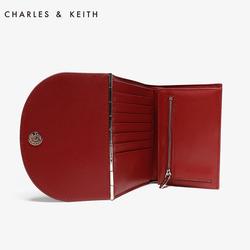 CHARLES&KEITH钱包CK6-60770268欧美风纯色翻盖式短款钱包