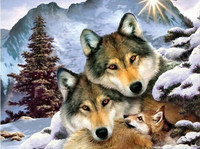 New mosaic full laid diamond painting embroidery Winter Wolf