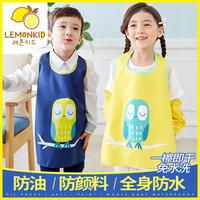 韩国儿童防水透气画画衣服绘画罩衣宝宝薄款无袖吃饭围裙反穿衣夏