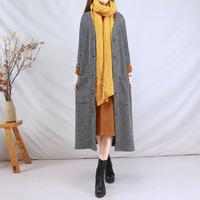 复古文艺针织开衫中长款毛衣外套外搭女式风衣秋冬季长袖宽松上衣