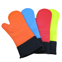 Silicone Oven Mitts Protection With Extra Long Thick Cotton