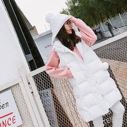 莱斯够2017冬款休闲连帽真毛球装饰加厚中长款无袖女马甲棉外套
