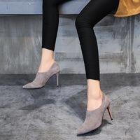 2018春秋季新款高跟鞋深口单鞋女尖头皮鞋时尚细跟女士真皮女鞋