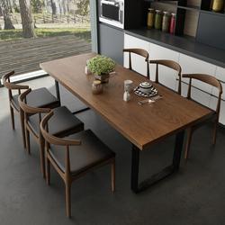 北欧长方形现代简约餐桌椅组合客厅饭桌复古铁艺实木餐桌会议桌