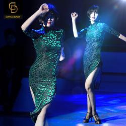 Dancebaby拉丁舞裙成人 拉丁舞服装女成人练功服旗袍连衣裙DA251