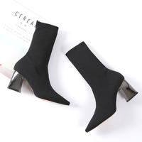 欧洲站女靴子秋短靴女袜靴粗跟尖头高跟袜子靴瘦腿毛线弹力靴chic