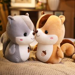 可爱小松鼠羽绒棉胖仓鼠松鼠公仔布娃娃毛绒玩具生日礼物抱枕玩偶