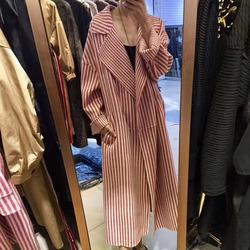 2018春秋新款中长红色竖条纹手工羊绒羊毛双面呢宽松尼大衣外套女