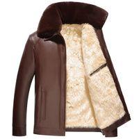 反季加绒加厚大毛领皮衣男冬装中年爸爸装外套中老年冬季PU皮夹克