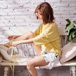 睡衣女夏韩版清新学生短袖套装纯棉两件套黄色夏款2018新款夏装