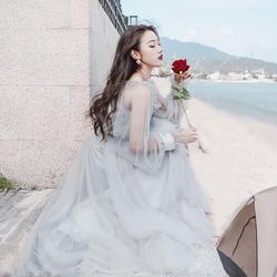 夏季新款冷淡风仙女裙蓬蓬裙波西米亚网纱少女心海边度假沙滩裙女