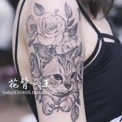 花臂女王TATTOO QUEEN 黑白花朵猫咪 花臂性感大图纹身贴