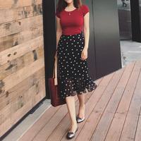 睿怎雪纺半身裙女2018夏季新款高腰包臀chic复古港味波点鱼尾裙子