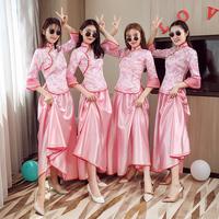 2018新款伴娘服中式长款中国风毕业姐妹团伴娘礼服裙合唱演出服出