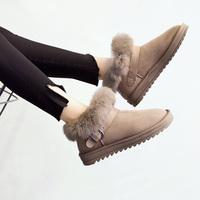 新款兔毛雪地靴女士短筒韩版学生百搭低帮平底毛毛面包棉鞋短靴子