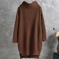韩版中长款高领套头毛衣花线针织衫宽松开叉秋冬款打底衫毛衣女