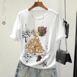夏季新款大码韩版宽松圆领清新体恤竹节棉刺绣彩绘贴布短袖女T恤