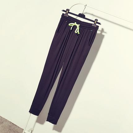 运动裤女夏春长裤小脚莫代尔哈伦裤女夏宽松黑色大码抽绳休闲裤