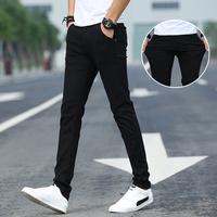 黑色裤子男韩版潮流百搭男士休闲裤男夏季薄款修身小脚裤男生长裤