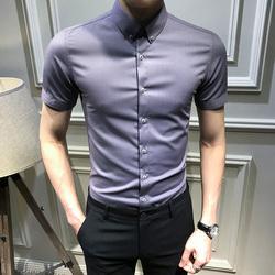 夏季帅气短袖衬衫男韩版青年纯色半袖衬衣潮流帅气休闲寸衣免烫