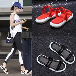 运动拖鞋女夏外穿时尚百搭韩版平底厚底网红同款凉拖凉鞋2018新款