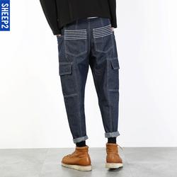 春季新款美式潮流哈伦牛仔裤日系大口袋阔腿裤男韩版小直筒工装裤