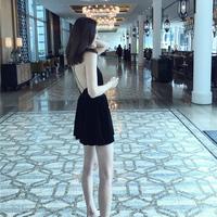 GV Collection 露背性感裙裤小黑裙短款丝绒收腰细吊带连衣裙女夏