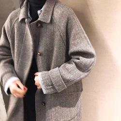 韩国复古人字纹95%澳毛双面羊绒小翻领A字中长款手工大衣外套女