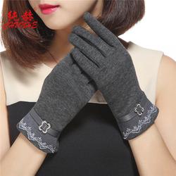 新款蕾丝金属扣韩版不倒绒开车触屏户外手套女秋冬季加绒保暖修手