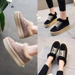 2017冬季新款厚底松糕毛毛加绒运动板鞋学生韩版水貂毛保暖棉鞋女
