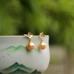 优雅 干练《清风徐来》18K黄金南洋海水金珍珠 耳钉 喜竹原创设计