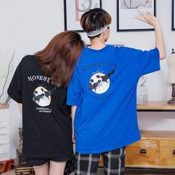 夏季新款男士韩版潮流短袖圆领宽松日系T恤情侣百搭半袖嘻哈体恤