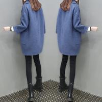 毛呢外套2017新款冬季韩版中长款茧型加厚大衣小个子修身时尚女装