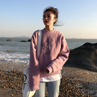 刺绣小恐龙加绒加厚圆领长袖套头卫衣女冬季韩版宽松显瘦学生外套