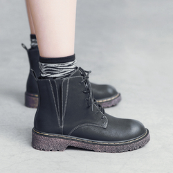 MASOOMAKE英伦风系带平底单靴子女短靴 2017新款复古秋季马丁靴女