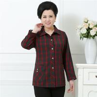 中老年女装衬衫春秋长袖50-60-70岁妈妈装格子全棉衬衣老年人上衣