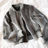 「南昕定制」身披银色星空的丝绒棒球宽松夹克上衣外套飞行服棉服