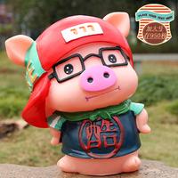 创意可爱不怕摔加大号酷潮猪存钱罐搪胶猪猪储蓄罐男女生日礼物