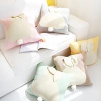 小井家 可爱马卡龙兔子全棉抱枕 北欧沙发装饰球球腰垫地板靠垫子