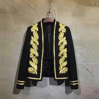 牌牌琦同款新品叶子印花无领小西服青年韩版修身金丝刺绣西装外套