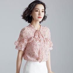 2018新款雪纺衫女夏短袖胖MM遮肚子韩版碎花上衣洋气小衫超仙甜美