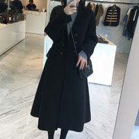 反季清仓女冬季双面羊绒中长款过膝收腰毛呢外套韩版修身呢子大衣