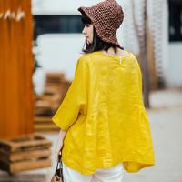 棉麻上衣女2017秋装新款黄色亚麻短袖娃娃衫文艺宽松时尚套头衬衫