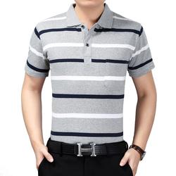 夏装爸爸短袖t恤中老年人翻领条纹T恤中年男宽松polo衫上衣男半袖