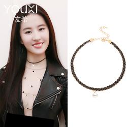 韩国网红锁骨链女短款颈带项链项圈脖子饰品脖颈链性感黑色choker