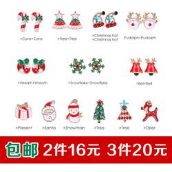 圣诞耳环女日韩版气质可爱个性简约圣诞节耳饰滴油耳钉耳夹无耳洞
