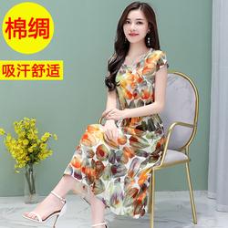 中老年女装棉绸连衣裙新款40-50岁大码裙子短袖夏装妈妈修身长裙
