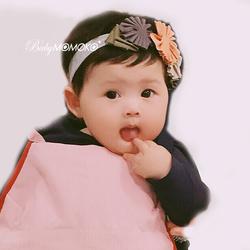 女童公主橘灰米色小花叶子棉质欧美韩国日本手工儿童宝宝发带发箍