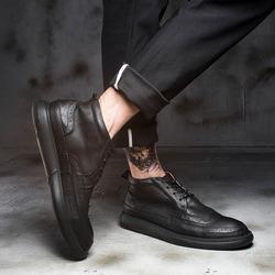 高帮鞋男春季百搭男鞋复古高邦英伦马丁靴真皮布洛克休闲皮鞋潮鞋
