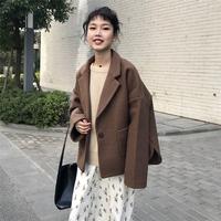 港味复古chic风韩版气质一粒扣西装领毛呢外套百搭纯色显瘦上衣女